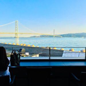 明石 淡路島レンタサイクル|神戸側明石海峡大橋がテラス席でみえるスタバは、神戸っ子のやすらぎの場です!!